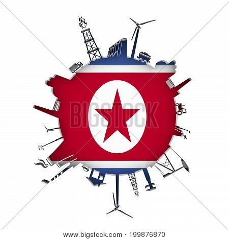 Circle with industry relative silhouettes. Objects located around the circle. Industrial design background. Flag of North Korea in the center. 3D rendering.