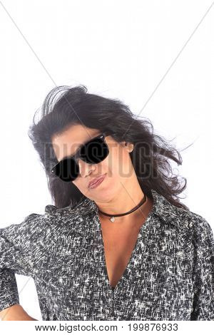 Hispanic woman wears dark sunglasses. Latino woman wears black sun glasses. isolated on white. room for text.