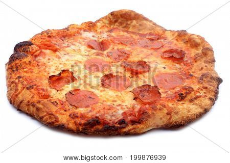 Pepperoni Pizza. Pizza. Isolated on white, Room for text.