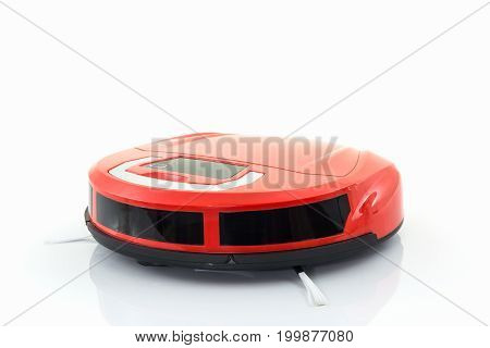 Robotic vacuum cleaner on the white background.