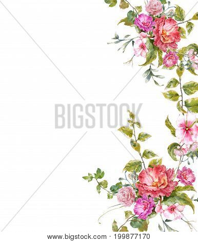 watercolor painting of leaves and flower on white background