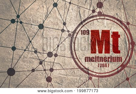 Meitnerium chemical element. Sign with atomic number and atomic weight. Chemical element of periodic table. Molecule And Communication Background. Connected lines with dots. Distress grunge texture