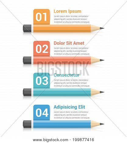 Pencils with numbers and text, education infographics, vector eps10 illustration