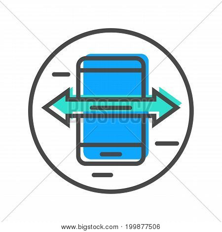 Data stream linear icon with smartphone sign. Financial data analysis, business analytics pictogram isolated vector illustration.