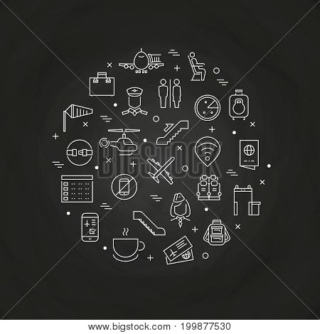 Airport and aviation outline icons - airport round concept on chalkboard. Vector illustration