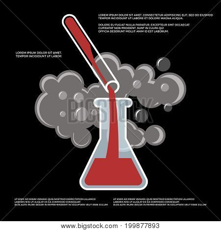 Chemistry, chemical experiment poster design. Beaker and flask vector illustration