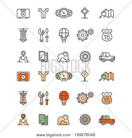 Travelling and location outline and flat colors icons. Travel flat sign of set. Vector illustration