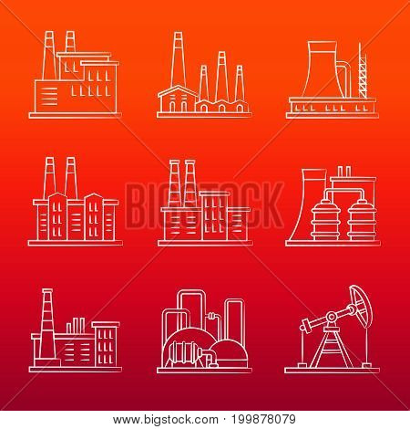 White industry powers line icons on colorful background. Vector illustration