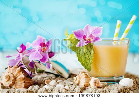 Fresh Exotic Cocktail On The Beach