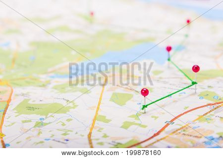 Pins on the map show the route. Trip plan with stop points. Copy Space to Paste Text