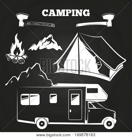 Camping or hiking vintage elements on chalkboard. Adventure badge illustration vector