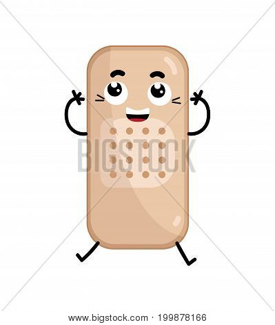 Adhesive bandage cute cartoon character. Medical treatment icon, funny medicine equipment isolated on white background vector illustration.
