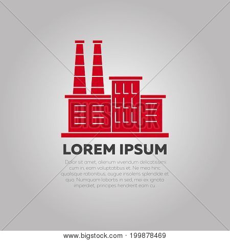 Red factory logo design - industry logo template. Business emblem industrial, vector illustration