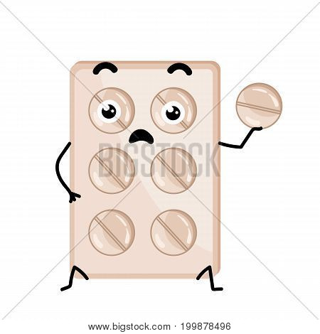 Medical tablet blister cute cartoon character. Pharmacy treatment icon, funny medicine equipment isolated on white background vector illustration.