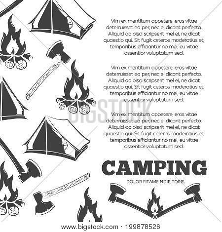 Camping poster with fire, axes, tent. Summer adventure banner design, vector illustration