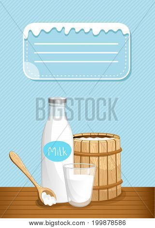 Dairy banner with milk products. Natural organic dairy product, fresh and healthy farm food concept. Layout for milk retail advertising or product presentation vector illustration in cartoon style.