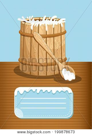 Dairy products advertising with milk wooden barrel. Natural organic dairy product, fresh and healthy farm food concept. Layout for milk retail advertisement or product presentation vector illustration