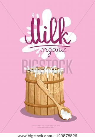 Traditional dairy products retail advertising. Natural organic dairy product, fresh and healthy farm food concept. Layout for milk product presentation vector illustration in cartoon style.