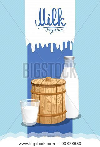 Healthy farm food banner with dairy products. Natural organic dairy product, traditional and fresh meal concept. Layout for milk retail advertising or product presentation vector illustration.