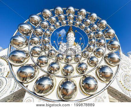White Big Buddha statue at Phasorn Kaew Temple Phetchabun Thailand