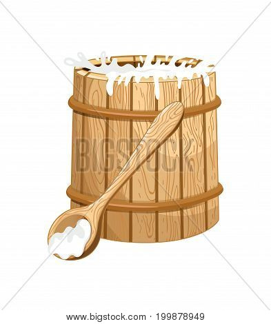 Full milk wooden barrel isolated icon. Healthy farm food, dairy product, natural organic meal vector illustration in cartoon style.