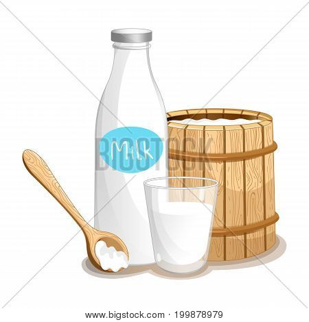 Milk product icon with wooden barrel, glass bottle and beaker. Healthy farm food, dairy product, natural organic meal vector illustration in cartoon style.