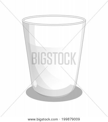 Glass beaker with milk isolated icon. Healthy farm food, dairy product, natural organic meal vector illustration in cartoon style.
