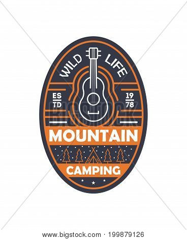 Mountain camping vintage isolated badge. Outdoor explorer sign, touristic expedition label, nature hiking vector illustration