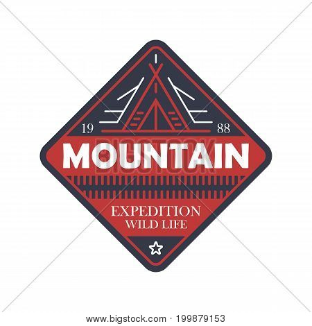 Wildlife expedition vintage isolated badge. Outdoor explorer sign, touristic adventure label, nature camping vector illustration