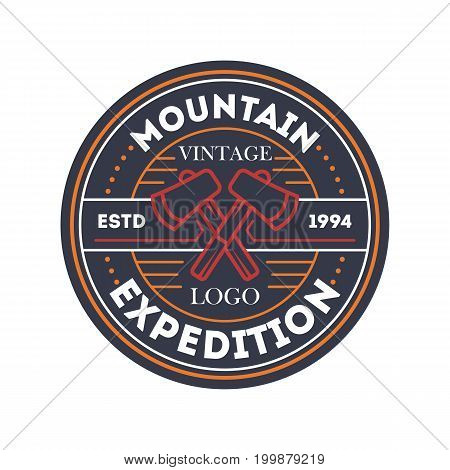 Mountain travel expedition vintage isolated badge. Outdoor explorer sign, touristic camping label, nature hiking vector illustration
