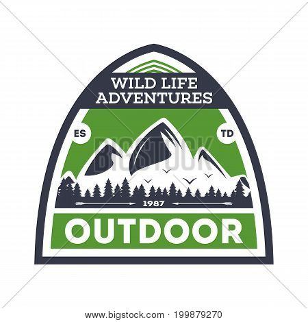 Outdoor expedition vintage isolated badge. Summer camp symbol, mountain and forest explorer, touristic camping label, nature wildlife vector illustration.