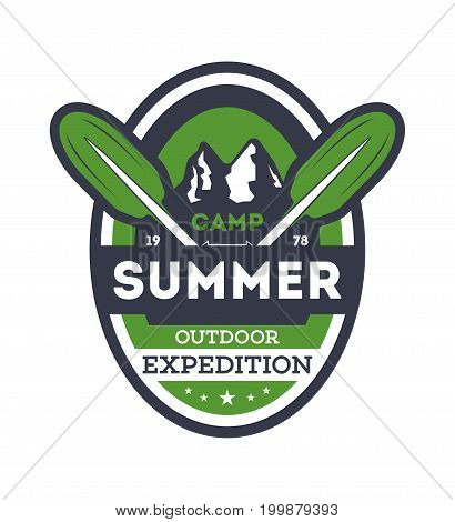 Summer camp expedition vintage isolated badge. Mountaineering symbol, forest explorer sign, touristic camping label, nature recreation vector illustration.