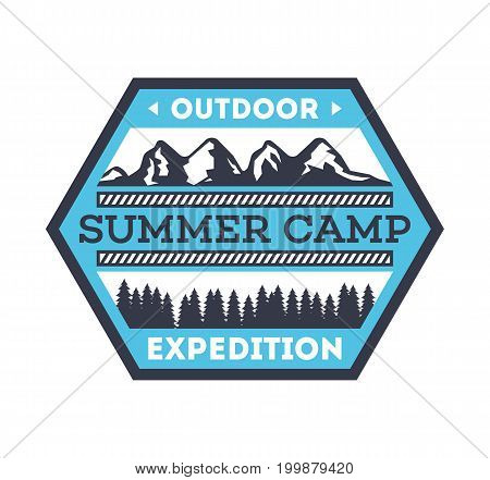 Touristic camping vintage isolated badge. Mountaineering symbol, forest explorer sign, summer camp label, nature recreation vector illustration.