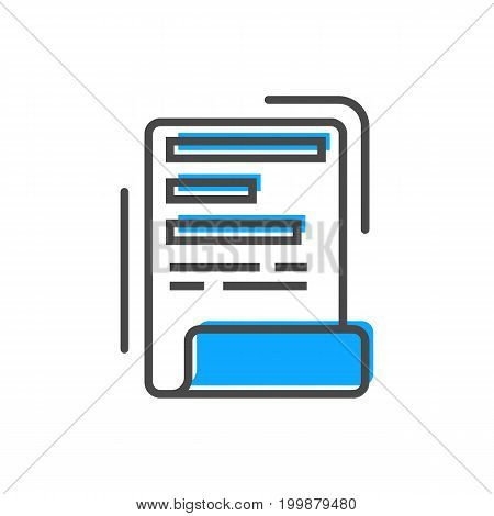 Process management linear icon with document sign. Data computing technology, business analytics pictogram isolated vector illustration.