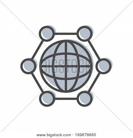 Process management linear icon with globe sign. Data computing technology, business analytics pictogram isolated vector illustration.