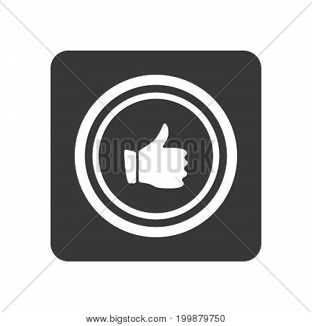 Quality control icon with thumb up sign. Quality management pictogram isolated vector illustration.