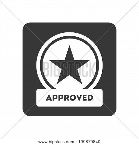 Quality control icon with approved symbol. Quality management pictogram isolated vector illustration.