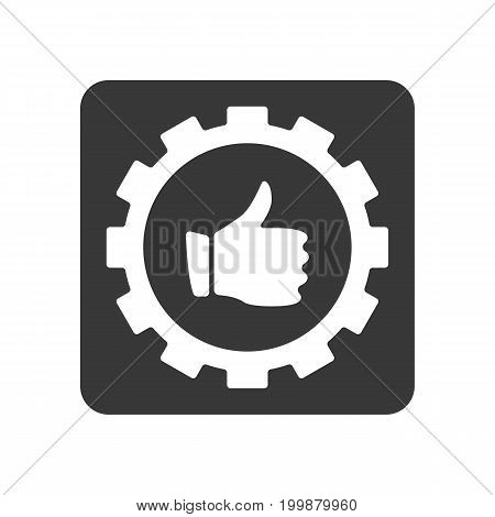 Quality control icon with thumb up in gear sign. Quality management pictogram isolated vector illustration.