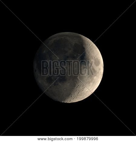 Waxing Crescent Moon Seen With Telescope