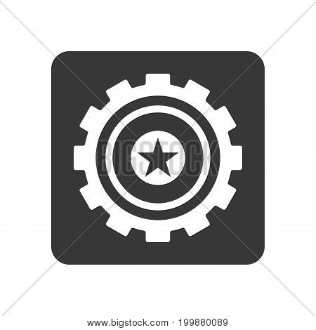 Quality control icon with star symbol. Quality management pictogram isolated vector illustration.