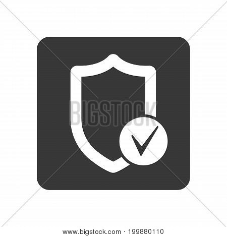 Quality control icon with shield sign. Quality management pictogram isolated vector illustration.