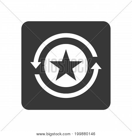 Quality control icon with reload symbol. Quality management pictogram isolated vector illustration.