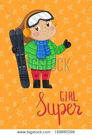 Super girl kids card with little girl in winter clothes holding skis. Cute greeting card, birthday congratulation, event invitation. Interesting children life, happy childhood vector illustration