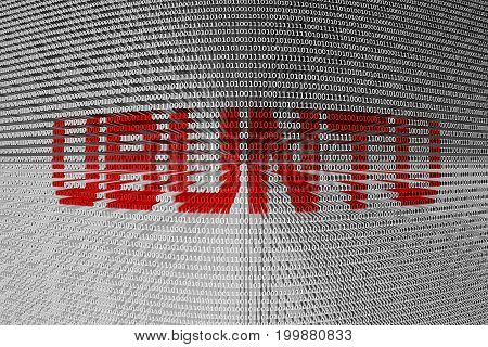 UBUNTU in the form of binary code, 3D illustration