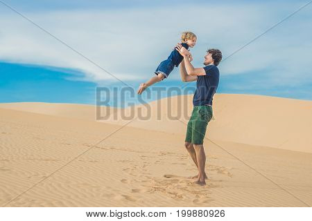 Father And Son At The White Desert. Traveling With Children Concept