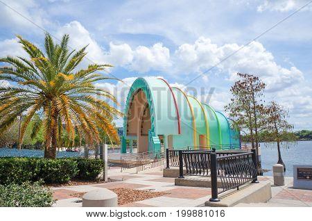 The Disney Amphitheater and skyline at Lake Eola, downtown Orlando, Florida., April 26, 2017