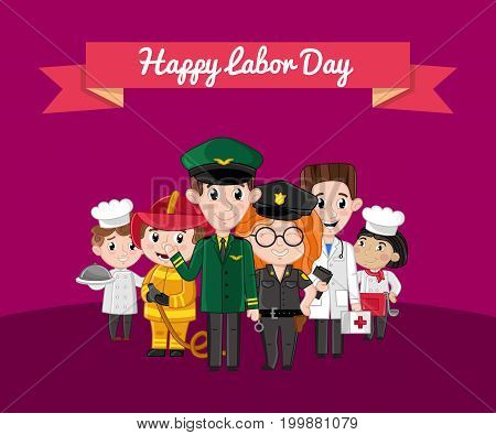 Happy labor day greeting card with children. Kids in professional costumes of cook, doctor, pilot, fireman, policeman. Holiday congratulation card, people different occupation vector illustration