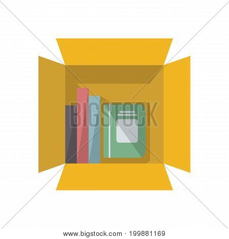 Office notebooks in cardboard box icon in flat design. Office supplies isolated vector illustration.