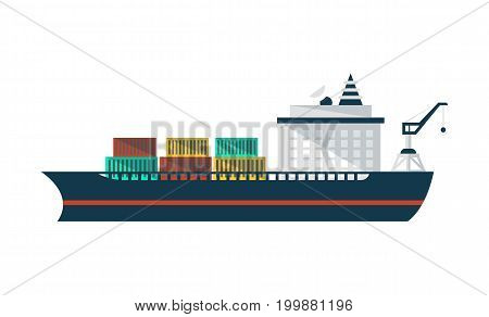 Container ship icon in flat design. Commercial vessel, worldwide delivery service isolated vector illustration.