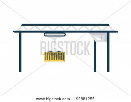 Gantry crane with container isolated icon. Worldwide delivery service, logistic company vector illustration isolated on white background.